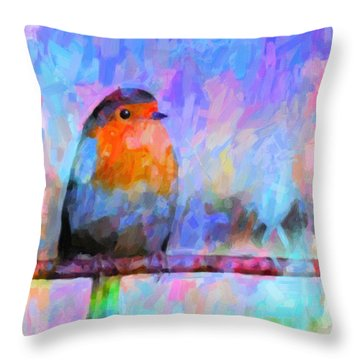 Red Breasted Robin Throw Pillow by Kenny Francis