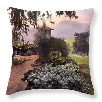 Red Bricks And Violet Mountain Throw Pillow by Terry Reynoldson