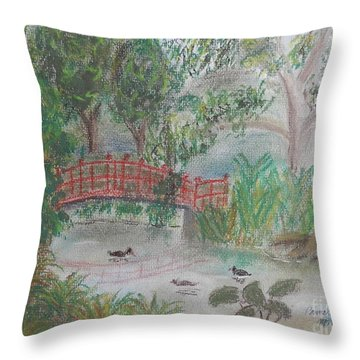 Red Bridge At Wollongong Botanical Gardens Throw Pillow