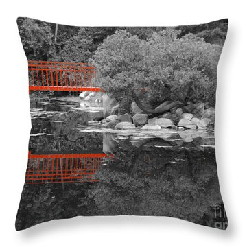 Red Bridge Black And White Throw Pillow