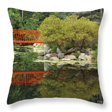 Red Bridge Close Reflection Throw Pillow