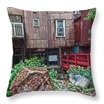 Throw Pillow featuring the photograph Red Bridge On Lover's Lane I by Lanita Williams