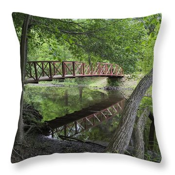 Red Bridge Over Peaceful Water Throw Pillow