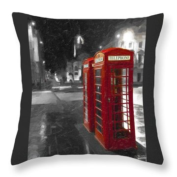 Red British Phone Box On The Streets Of Edinburgh Throw Pillow