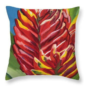 Red Bromeliad Throw Pillow