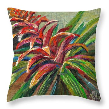 Red Bromiliad Throw Pillow