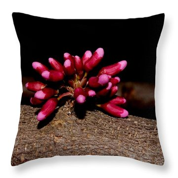 Red Bud Buds Throw Pillow