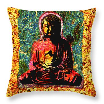 Red Buddha Throw Pillow by Peter Cutler