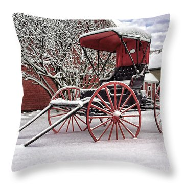 Throw Pillow featuring the photograph Red Buggy At Olmsted Falls - 1 by Mark Madere