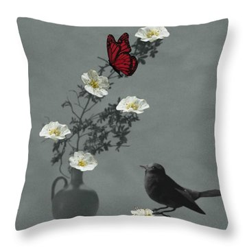 Red Butterfly In The Eyes Of The Blackbird Throw Pillow by Barbara St Jean