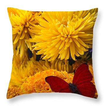 Red Butterfly On African Marigold Throw Pillow by Garry Gay