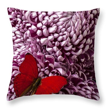 Red Butterfly On Red Mum Throw Pillow by Garry Gay