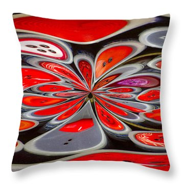 Red Button Orb Throw Pillow by Jean Noren
