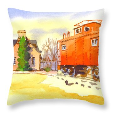 Red Caboose At Whistle Junction Ironton Missouri Throw Pillow