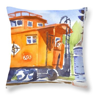 Red Caboose With Signal  Throw Pillow by Kip DeVore