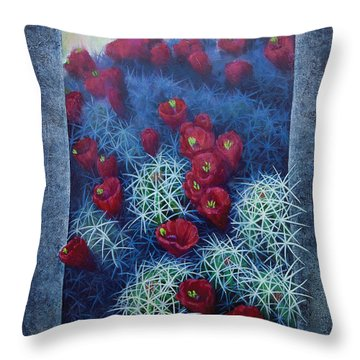 Throw Pillow featuring the painting Red Cactus by Rob Corsetti