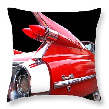 Red Cadillac Sedan De Ville 1959 Tail Fins Throw Pillow
