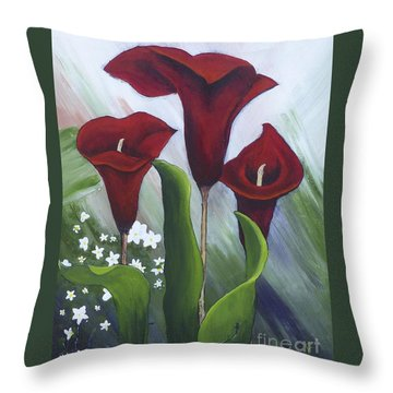 Red Calla Lilies Throw Pillow