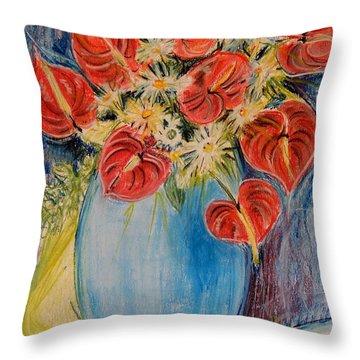 Red Calla Lilies Throw Pillow by Caroline Street