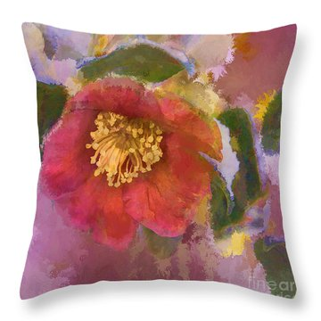 Red Camelia In A Winter Coat Throw Pillow by Terry Rowe