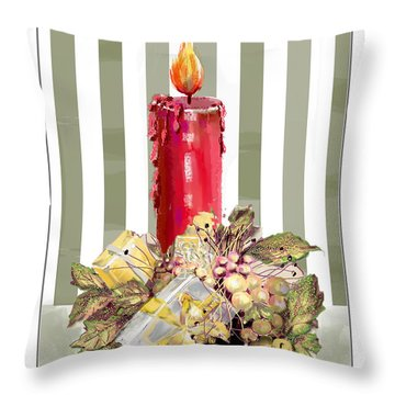 Throw Pillow featuring the digital art Red Candle by Arline Wagner
