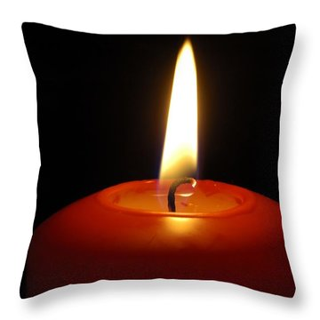 Red Candle Burning Throw Pillow