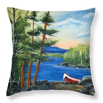 Throw Pillow featuring the painting Red Canoe by Brenda Brown