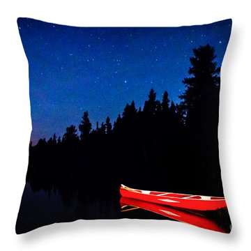 Red Canoe I Throw Pillow