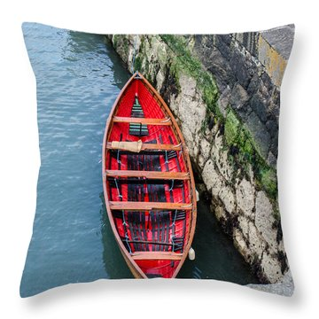 Red Canoe Throw Pillow by Mary Carol Story