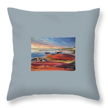Red Canoe Sunset Throw Pillow