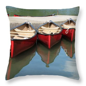 Throw Pillow featuring the photograph Red Canoes by Marcia Socolik