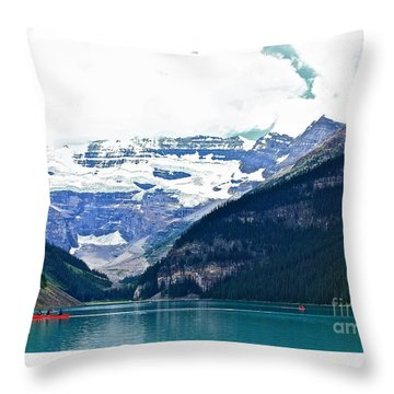 Throw Pillow featuring the photograph Red Canoes Turquoise Water by Linda Bianic