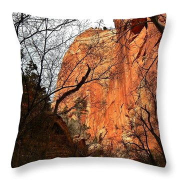 Red Canyon Walls Kanarraville Utah Throw Pillow by Deborah Moen