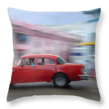 Red Car Havana Cuba Throw Pillow