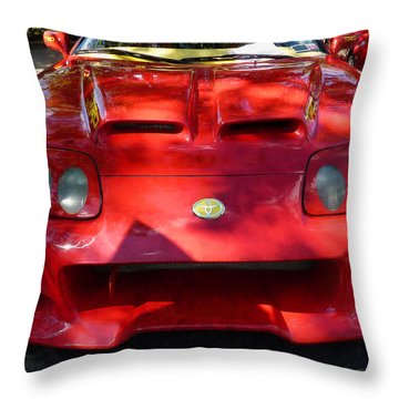 Red Car In Dappled Sunshine Throw Pillow by Susan Savad