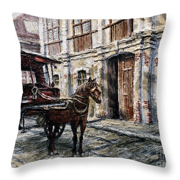 Red Carriage Throw Pillow