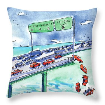 Red Cars Drop Off A Bridge Under A Sign That Says Throw Pillow