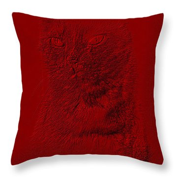 Red Cat Collection. Special... Throw Pillow by Oksana Semenchenko