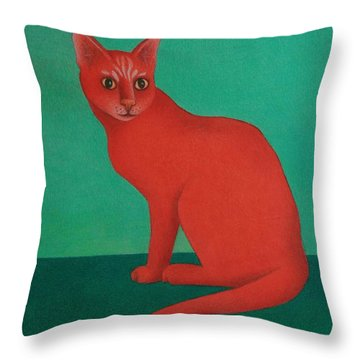 Throw Pillow featuring the painting Red Cat by Pamela Clements