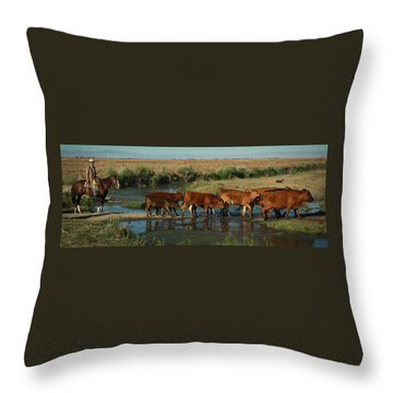 Red Cattle Throw Pillow by Diane Bohna
