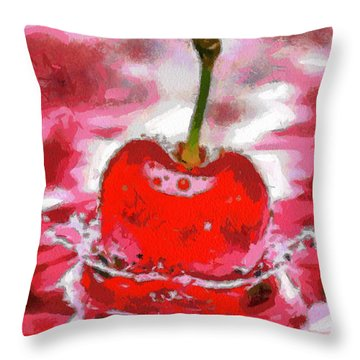 Red Cherry Throw Pillow by Georgi Dimitrov