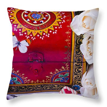 Red Chest And Butterfly Throw Pillow by Garry Gay