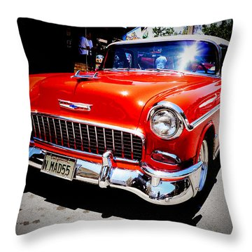Red Chevrolet Bel Air Throw Pillow by Nina Prommer