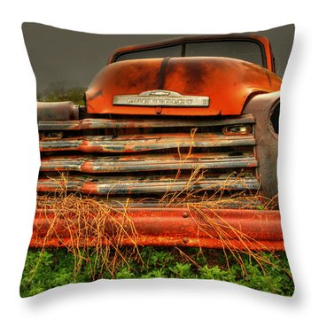Red Chevy Throw Pillow by Thomas Young