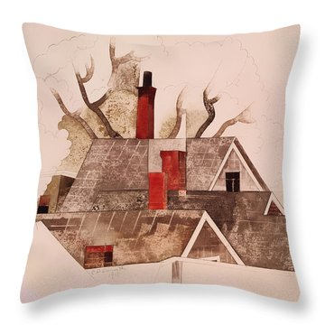 Red Chimneys Throw Pillow