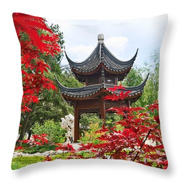 Red - Chinese Garden With Pagoda And Lake. Throw Pillow