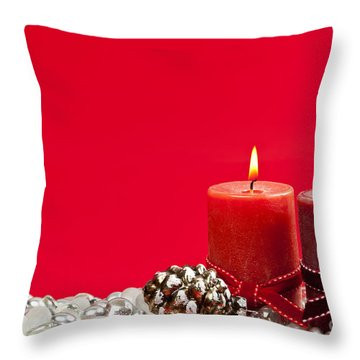 Red Christmas Candles Throw Pillow by Elena Elisseeva