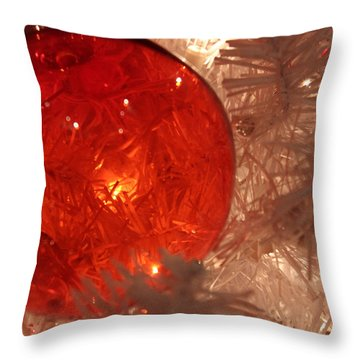 Throw Pillow featuring the photograph Red Christmas Ornament by Lynn Sprowl