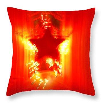 Red Christmas Star Throw Pillow by Gaspar Avila