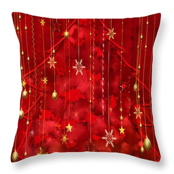 Throw Pillow featuring the digital art Red Christmas Tree by Arline Wagner